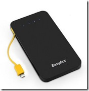 EasyAcc portable power bank with built in cable for smartphones