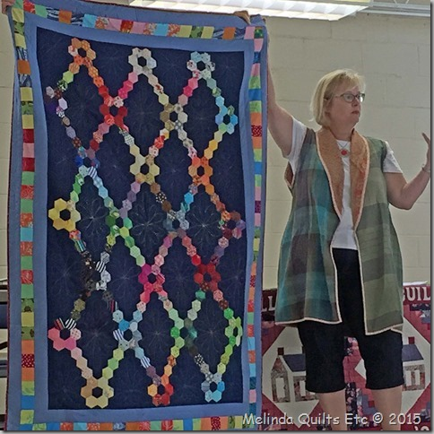 0715 Multi-colored Hexie Quilt