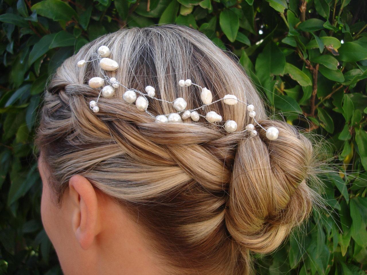 Bridal Pearl tiara, Pearl hair