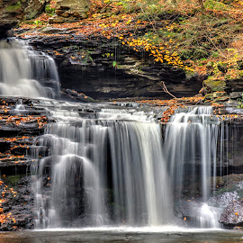 BF Ricketts Falls by Zev Steinhardt - Landscapes Waterscapes ( peaceful, waterfall, beautiful, pennsylvania, leaves, ricketts glen, nature, autumn, pa, serene, cascade, fall, rocks,  )