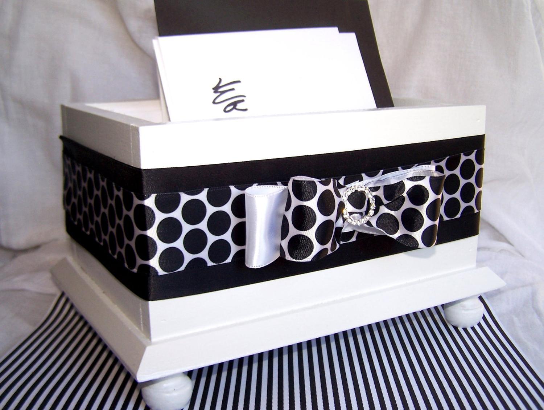 Wedding Card BOX - Black and White Polka Dots, Bow with Rhinestone Buckle,