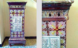 Изумительная антикварная керамическая печь. ок.1890 г. Высота 120 см. 6000 евро.
