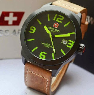 Jual jam tangan Swiss Army SA2867 date brown leather black green