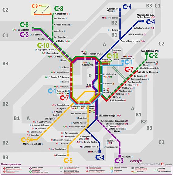 Plano de Cercanías Madrid, edición esquemática. Junio 2013 - pincha para ampliar el plano