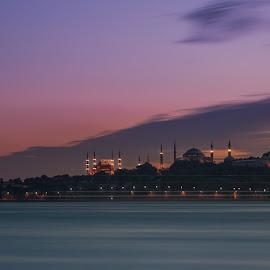 Sunset in Istanbul by Arda Erlik - City,  Street & Park  Skylines ( sony, sunset, bosphorus, arda erlik, sultanahmet, istanbul, turkey )