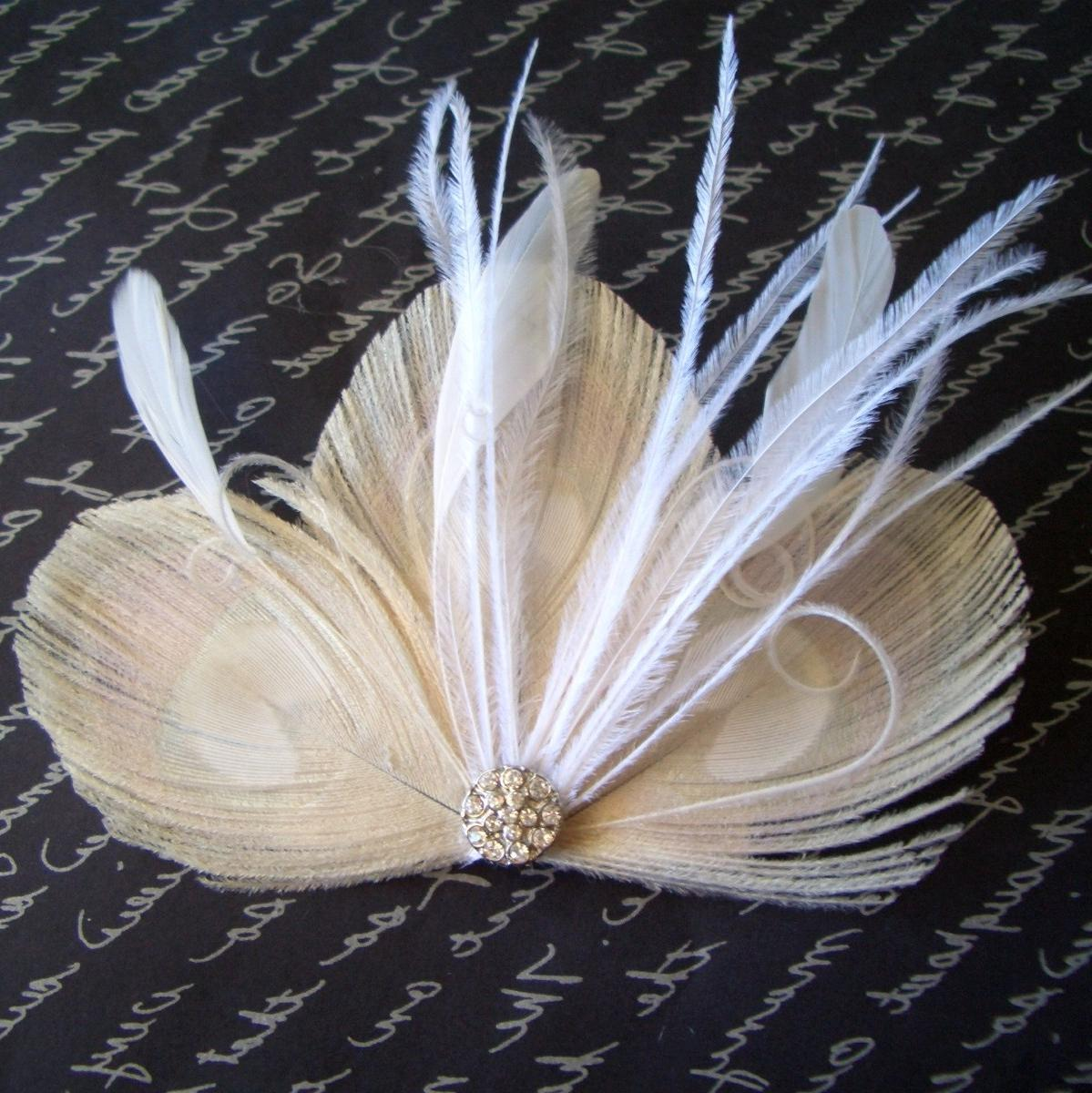 LEAH - Ivory Peacock Feather Bridal Clip with White or Ivory Accents