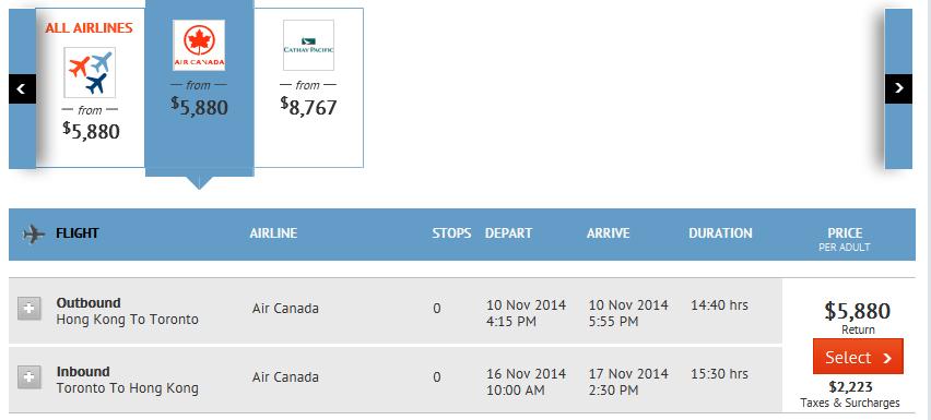香港飛多倫多來回連稅HK$8,025
