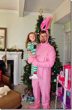 Zoey & Daddy as the Pink Bunny