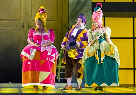 IN PERFORMANCE: (from left to right) Mezzo-soprano DEBORAH NANSTEEL as Tisbe, bass-baritone VALERIANO LANCHAS as Don Magnifico, and soprano JACQUELINE ECHOLS as Clorinda in Gioachino Rossini's LA CENERENTOLA at Washington National Opera, 17 May 2015 [Photo by Scott Suchman, © by Washington National Opera]