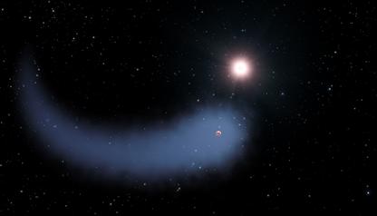 ilustração de enorme nuvem em forma de cometa