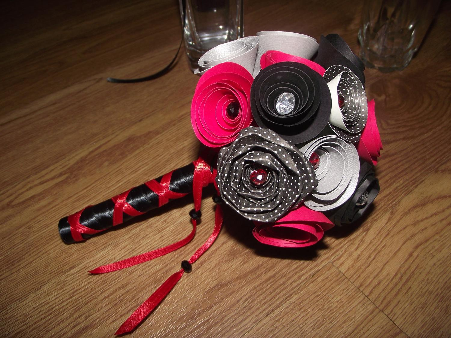 Red and Black and Silver Paper Flower Bridal or Bridesmaid Bouquet