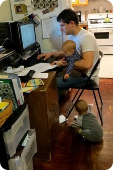 Daddy Working with the Twins