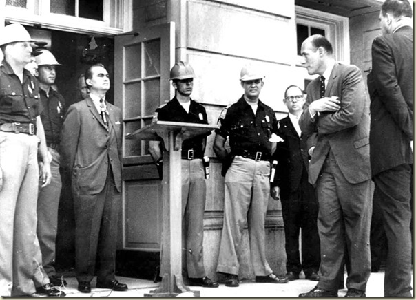 George Wallace stands in Alabama school hosue door