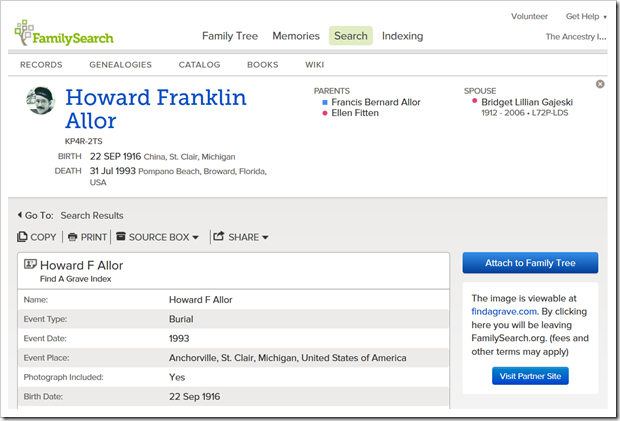 Find a grave record of Howard Franklin Allor, search initiated from FamilySearch Family Tree