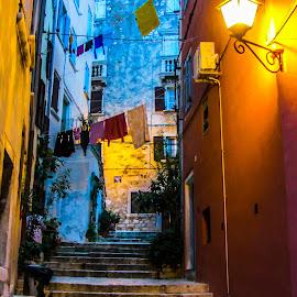 Small Town Evening by Andreja Novak - City,  Street & Park  Street Scenes