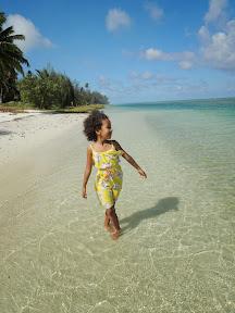 Malaika enjoying herself on Aitutaki
