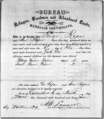 A marriage certificate from the records of the Freedmen's Bureau