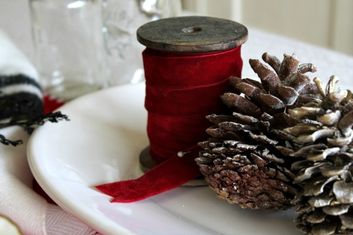 Holiday Table Red Velvet Ribbon