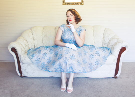 Dressing up in a vintage 1950's tea length gown | Lavender & Twill