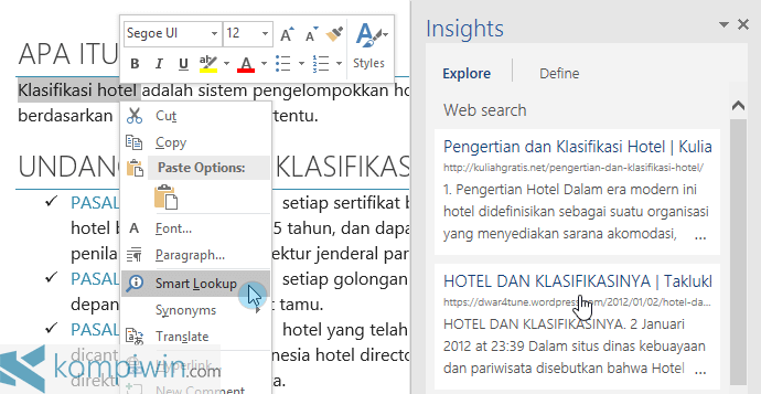 Smar Lookup di Office Word 2016