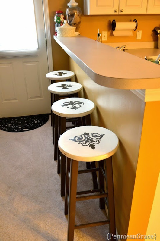 stenciled stools