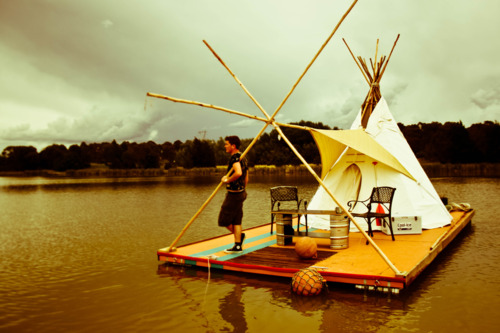 teepee on lake ginninderra