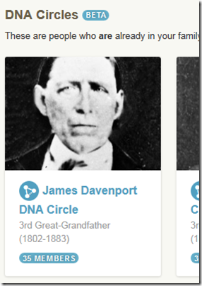 An AncestryDNA DNA Circle for James Davenport
