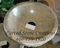 D16.5xH6 Yellow Tiger Skin Granite Rock-Face Vessel Sink Polished Interior