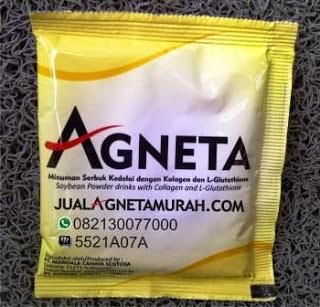 AGNETA Glutathione - The Master Antioksidant     Glutathione merupakan salah satu kandungan yang terdapat dalam AGNETA, merupakan molekul yang paling penting yang dibutuhkan untuk tetap sehat dan mencegah penyakit. Glutathione sebenarnya sudah ada dalam tubuh manusia dan pada kenyataannya manusia tergantung dengan Glutathione. Tanpa Gluthatione sel tubuh akan hancur karena oksidasi yang tidak terkendali, tubuh hanya memiliki sedikit kekebalan terhadap bakteri, virus dan kanker, dan fungsi hati akan berhenti sebagai tempat berkumpulnya racun.  Begitu pentingnya fungi Glutathione bagi tubuh sehingga diperlukan cara alami untuk meningkatkan Glutathione dengan mengkonsumsi AGNETA secara teratur, dimana di dalam AGNETA terdapat kandungan yang sangat lengkap:         Glutathione     Soy Milk (Susu Kedelai)     Lesitin Kedelai     Ekstrak mentimun     Aquamin     Kolagen     Inulin
