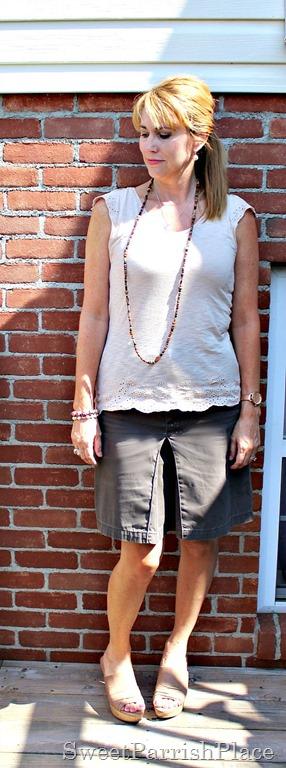 Brown skirt, eyelet Tshirt, nude wedges3