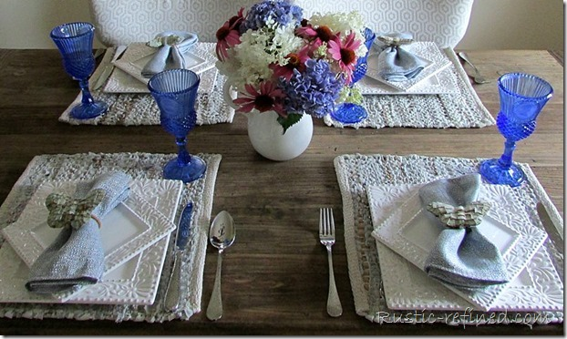 White square dishes in a coastal inspired tablescape