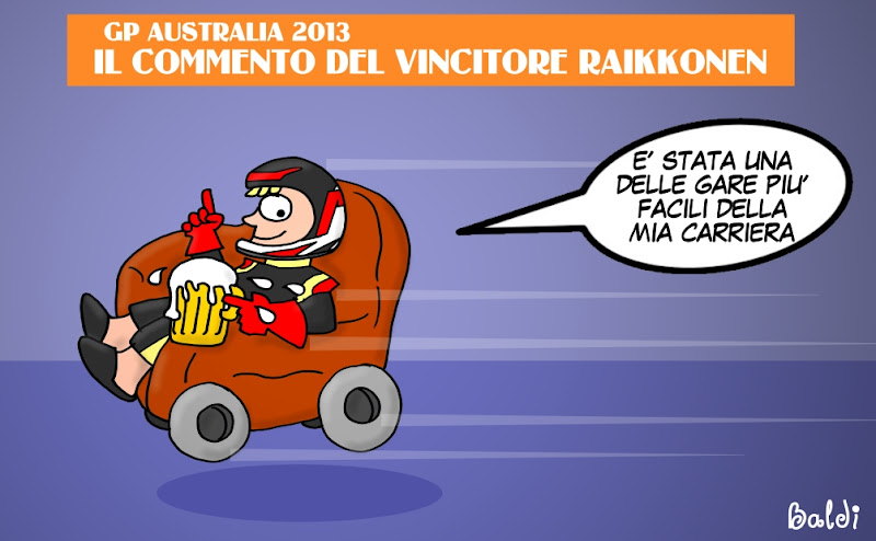 Кими Райкконен с пивом в кресле - комикс Baldi по Гран-при Австралии 2013