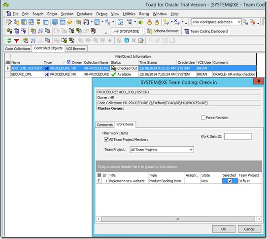 6 - Associating Work Items with Changesets from Toad For Oracle 12.6 - CheckIn Dialog - Associating With Work Items