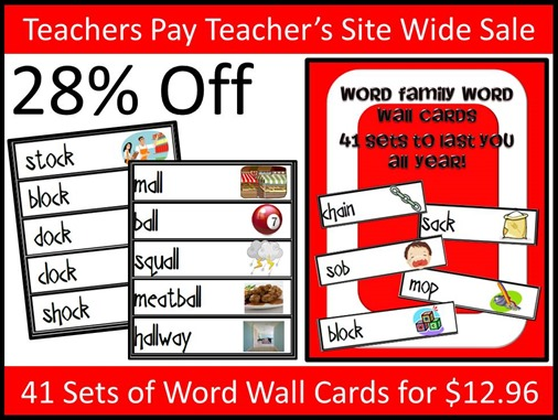 Teachers Pay Teacher's Site Wide Sale - Word Wall Card Year Long Set