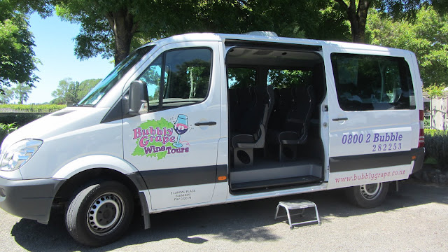 The Bubbly Grape Wine Tours bus.
