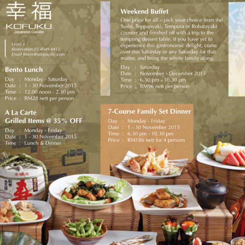 Makanan Jepun di Hotel Seri Pacific Kuala Lumpur