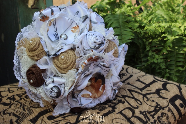 Rustic white camo bridal bouquet