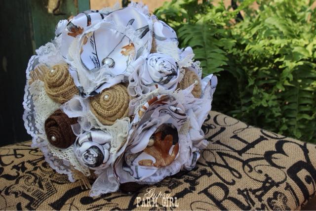 Rustic White Camo Bridal Bouquet