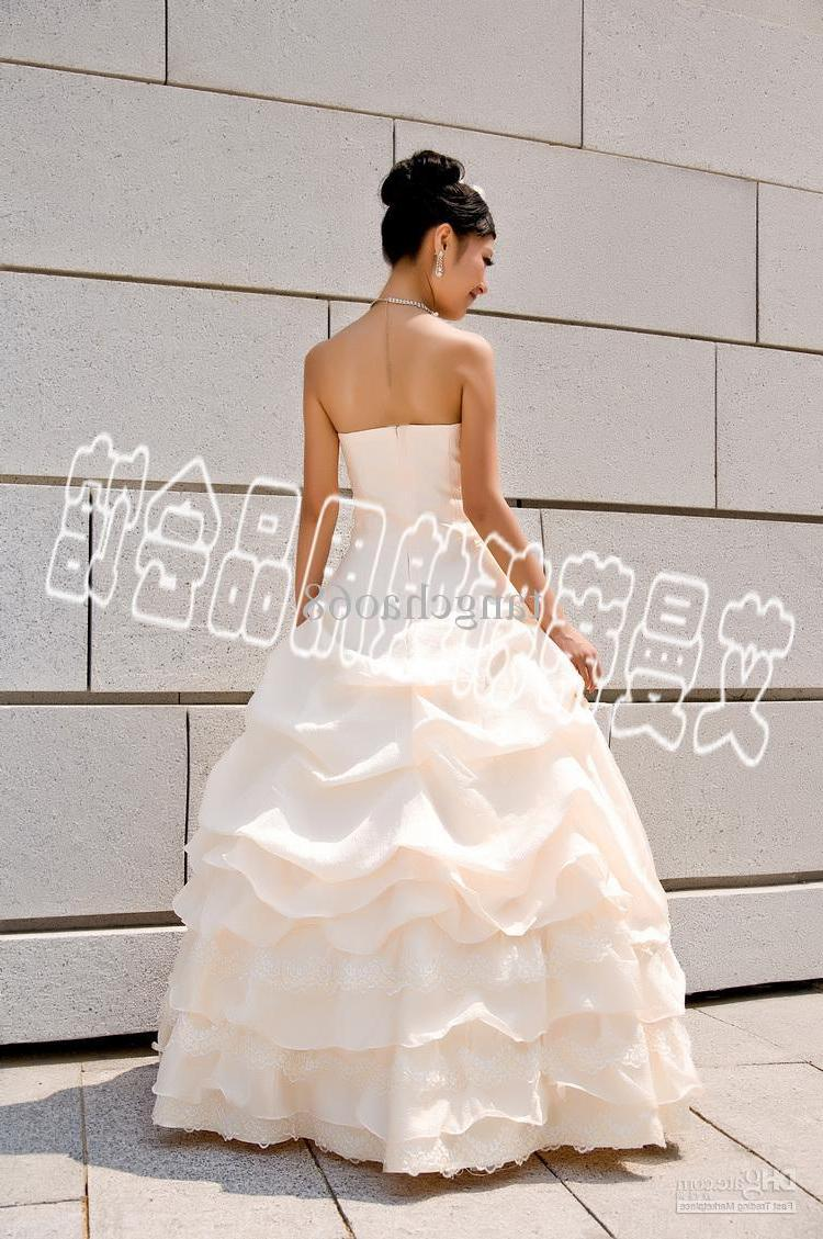 Wholesale - Store champagne strapless wedding dress bridal dress ball gown
