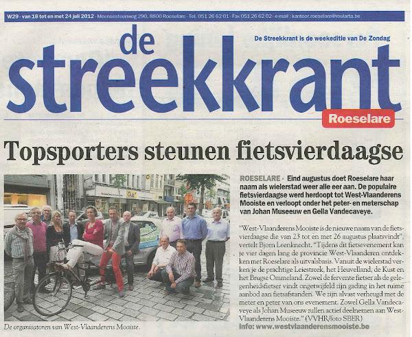 West-Vlaanderens Mooiste in de Streekkrant juli 2012