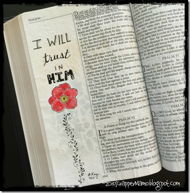 Bible Art Journaling Ps 91-2 Trust in Him