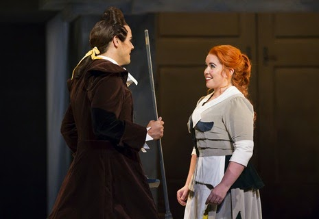 IN PERFORMANCE: Tenor DAVID PORTILLO (left) as Ramiro and mezzo-soprano TARA ERRAUGHT in the title rôle (right) of Gioachino Rossini's LA CENERENTOLA at Washington National Opera, 17 May 2015 [Photo by Scott Suchman, © by Washington National Opera]