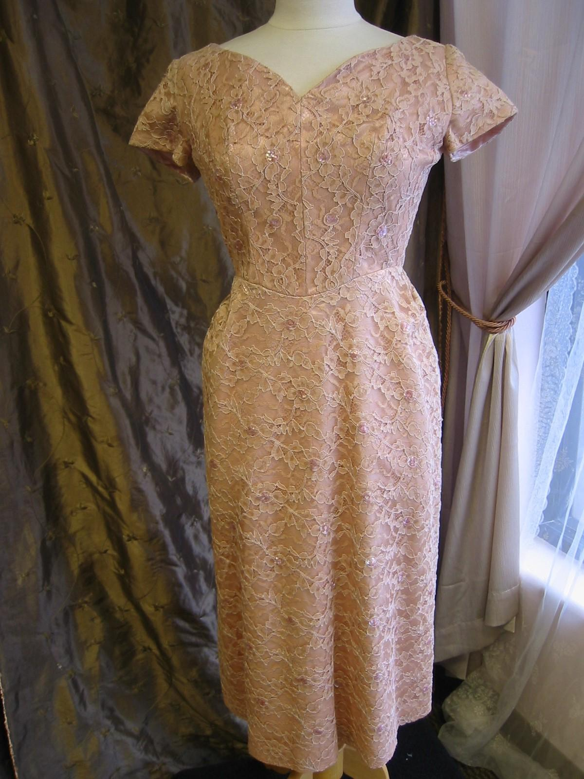 Mauve lace vintage cocktail, bridal dress