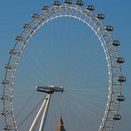 The London Eye with Big Ben by David Gilchrist - City,  Street & Park  Skylines ( england, london eye, london, big ben, attraction )