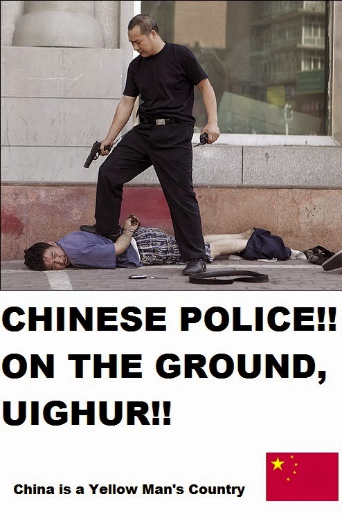 Chinese Police! On the Ground, Uighur!