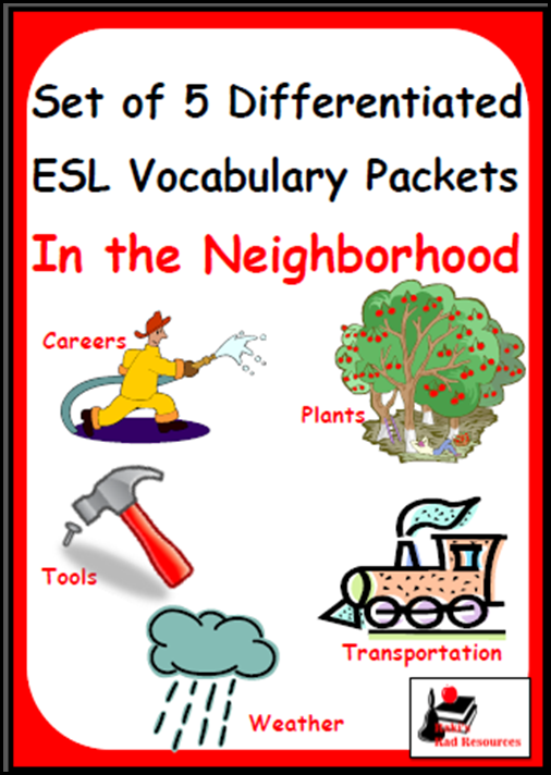 English Language Learners need differentiated vocabulary instruction. Build this into your daily routine with my Differentiated English Language Learner Vocabulary Packets. Resources from Raki's Rad Resources - In the Neighborhood Set