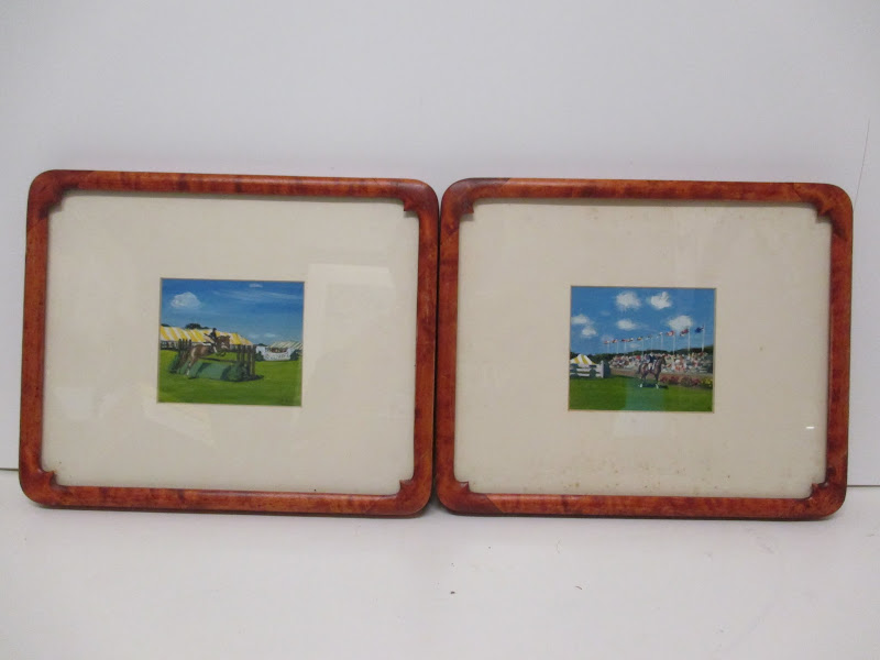 Signed Equestrian Painting Pair