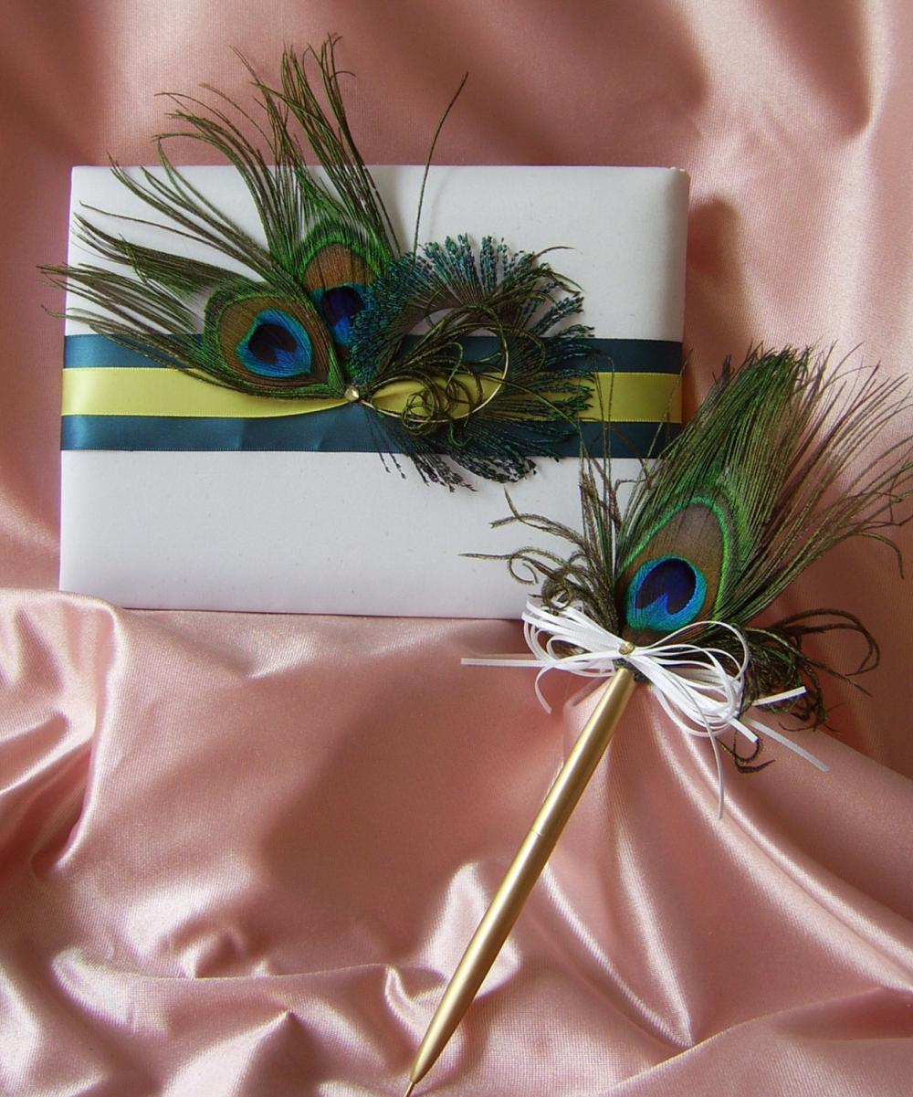 Teal and Yellow Wedding Colors Peacock Feathers Guest Book and Pen