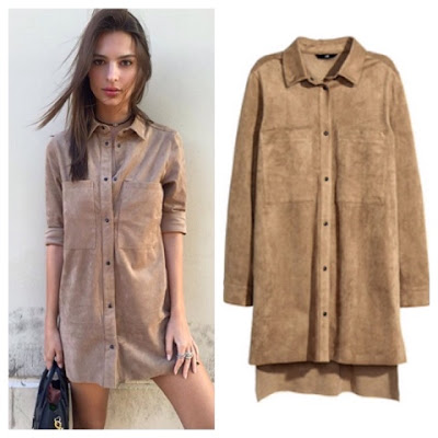 Emily Ratajkowski in H&M Suede Mini Shirt Dress on Instagram Emrata