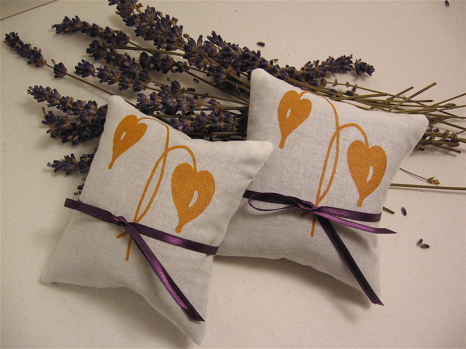 Wedding Lavender Sachets-Screen Printed Gold Leaf- Set of Two